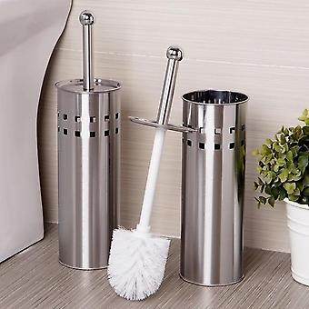 Stainless Steel Rust ResistantToilet Brush and Vented Holder Set for Bathroom