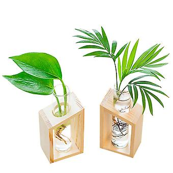 Test Tube Vase In Wooden Stand Flower Pots For Hydroponic Plants