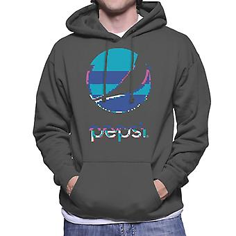 Pepsi Glitch Stacked Logo Men's Hooded Sweatshirt