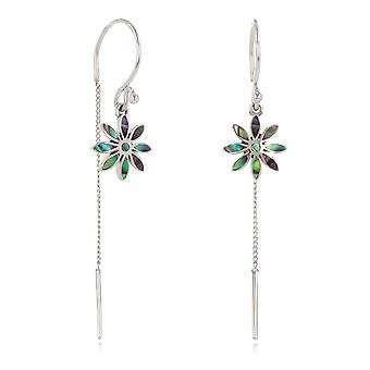 ADEN 925 Sterling Silver Abalone Mother-of-pearl Flower Earrings (id 4269)