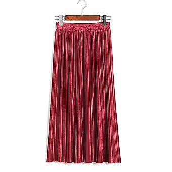 Womens Metallic Look Long Maxi Pleated Skirt
