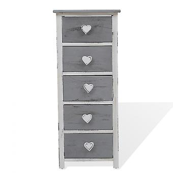 Rebecca Furniture Mobile Lades 5 Laden White Wood Grey Shabby 84x35x27