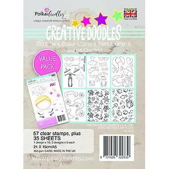 Polkadoodles Garequillas Creativas Haciendo Caras A5 Sello & Kit de tarjetas