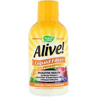 Naturens vei, levende!, flytende fiber med prebiotika, tropiske sitrus smaksatt, 16