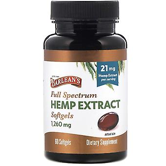 Barlean's, Full Spectrum Hemp Extract, 21 mg, 60 Softgels
