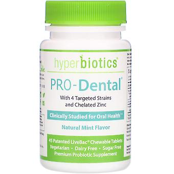 Hyperbiotics, PRO-Dental, Natural Mint Flavor, 45 Patented LiveBac Chewable Tabl