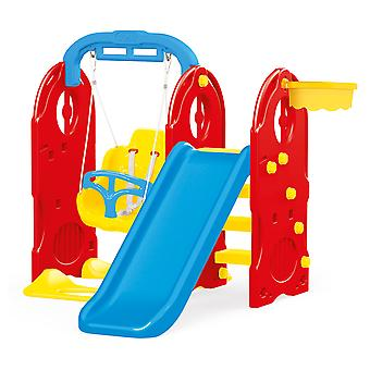 Dolu 4-In-1 Playground with Slide and Basketball Hoop Swing Pull Up Bar Playhouse Centre