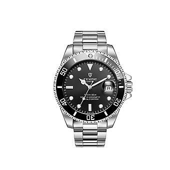 Tevise Mens Homage Quartz Watch Black Silver Smart Watches Date Designer Gift