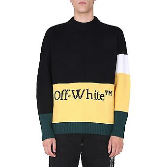Off-white Omhe048e20kni0011018 Män's Gul/svart Ull Tröja