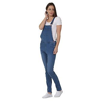 Skinny fit ladies denim stretch dungarees -  palewash