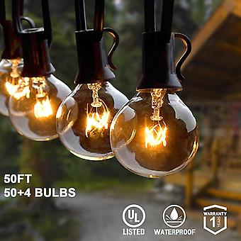String Lights With Globe Clear & Spare Bulbs, Waterproof Ip44 Patio Hanging