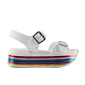 Sandalo Maxi H222 Bianco Con Zeppa Multicolor