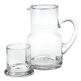 "4"" X 6"" X 7"" Clear Glass 2 Pc Glass Bedside or Desktop Carafe Set  10 oz"