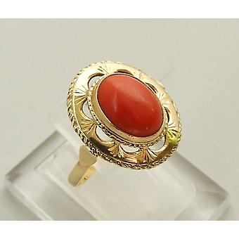 14 carat yellow gold ring with blood coral