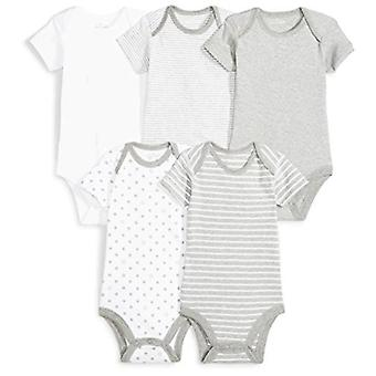 Moon and Back Baby Set of 5 Organic Short-Sleeve Bodysuits, White Cloud, 6-9 ...