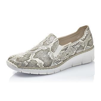 Rieker 53766-40 Japura Modern Summer Loafers In White Snake