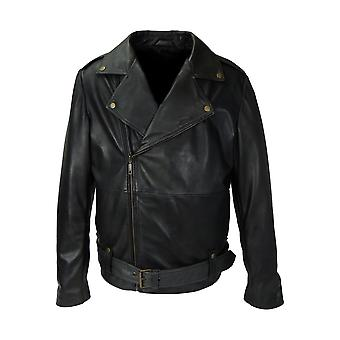 Motorcycle men's genuine leather jacket cry baby artwork