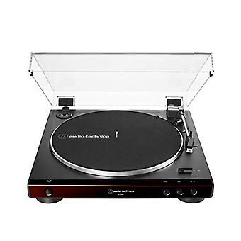 Audio-technica at-lp60x-bw fully automatic belt-drive stereo turntable, brown/black