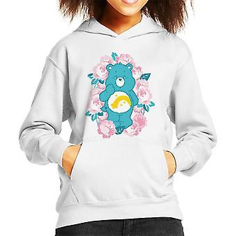 Care Bears Wish Bear Pink Flowers Kid's Hooded Sweatshirt