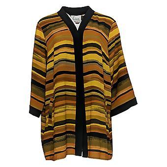 Linea Por Louis Dell'Olio Women's Top Striped Kimono Brown A351112