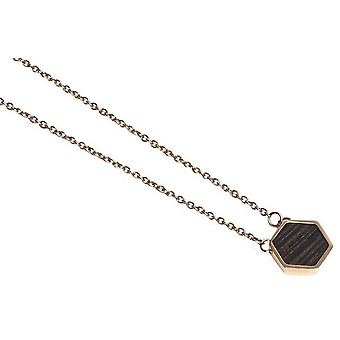 BeWooden Rose Hexagon Necklace - Rose Gold/Brown