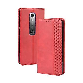 Magneettisolki Retro Hullu Hevonen Rakenne Vaakasuuntainen Flip Nahkakotelo Vodafone Smart N10 (VFD630) , jossa pidike && amp; &Korttipaikat Valokuvakehys (punainen)