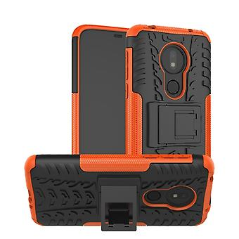 Tire Texture TPU+PC Shockproof Phone Case pour Motorola Moto G7 Power, avec Holder (Orange)