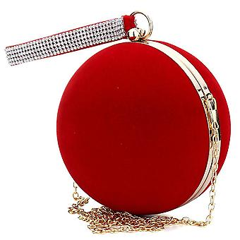 Unique Velvet Iron-on Lady Handbag, Shoulder Clutch, Spherical Evening Bags,