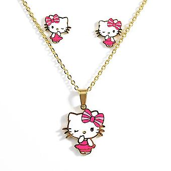 Children Earrings Necklace Set Golden Cute Cartoon Cat Necklace Kids