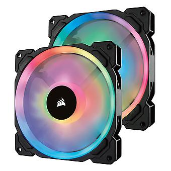 Corsair  co-9050074-ww ll140 rgb dual light loop rgb led pwm fan 2 fan pack mit beleuchtungsknoten pro,