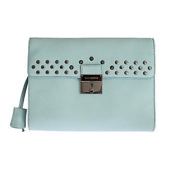 Dolce & Gabbana Blue Leather Studded Document Portfolio Briefcase Keyhole Fastener Bag