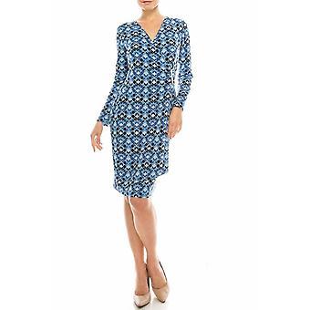 Geometrische Faux Wrap Kleid mit Silber Taille