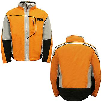 Fila Mens Short Jacket Insulated Thermal Coat Orange Grey U89664 810 X11A
