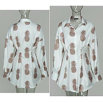 Lato/jesień Mini rękaw Mini shirt button V Neck Trzy czwarte rękaw sukienka
