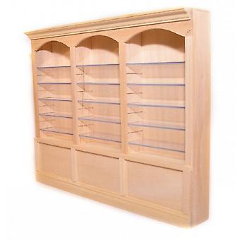 Dolls House Bare Wood 3 Bay Shop Fitting Triple Store Shelf Unit