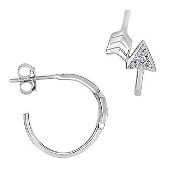 Zegelring in zilver en Cubic Zirconia Open cirkel pijl Post oorbellen