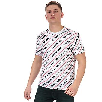 Men's Verdadera religión Coverstitch All Over Print Camiseta en blanco