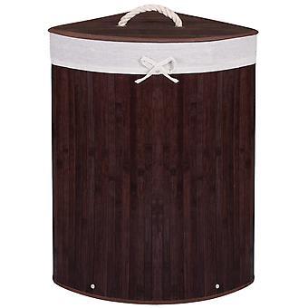 Vasketøjskurv mørk bambus - 73L indhold - trekant model
