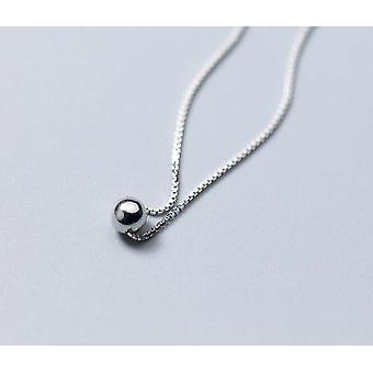Colar de contas simples, nova joia redonda de prata esterlina e festa