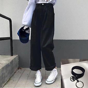 Jeans Femei Solid Vintage High Talie Wide Leg Pantaloni Simplu Studenți