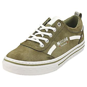 Mustang Jeans Low Top Womens Casual Trainers in Olive