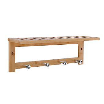 Wandkapstok bamboe hout 4 ophang haken & legplank