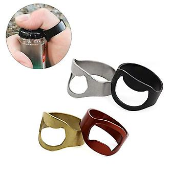 4pcs 24mm Outdoor EDC Mini Finger Ring Beer Opener Bouteille en acier inoxydable Can Opener Ring Tool Kit