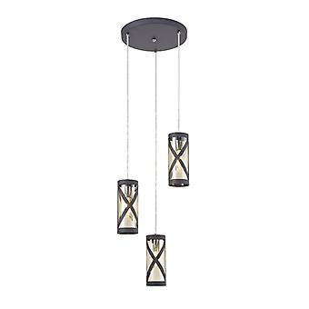 Lámpara Colgante De Diseño Istria 3 Bombillas Gris Mate 25 Cm