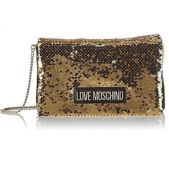 Женская сумка Любовь Moschino Плечевой ремень Пайетки Золото/ Серебро B21mo123