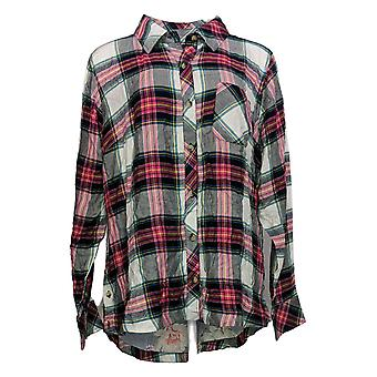 Tolani Women's Top Collection Plaid W/ Printed Velvet Back Red A354872