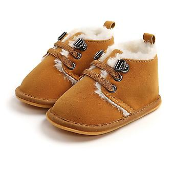 Solid Lace-up Baby Boots, Cross-tied Shoes For Warm Baby Velvet Plush