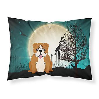 Caroline'S Tesoros Halloween Miedo Inglés Bulldog Rojo Tela Blanca Funda de Almohada Estándar Bb2310Pillowcase, Multicolor