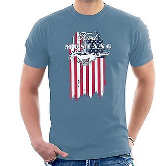 Ford Mustang descolorido bandera americana hombres's camiseta