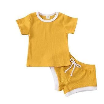 Baby Ribbed Knitted Short Sleeve T-shirts+shorts Tracksuits Sets